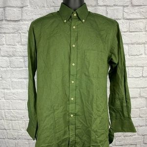 Thomas Pink Green Olive Twill Button Down Shirt Sm